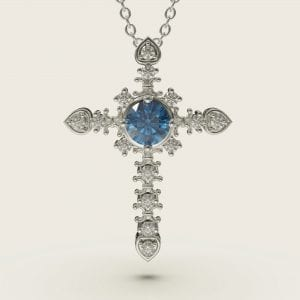 Sterling Silver Crystal Cross Pendant