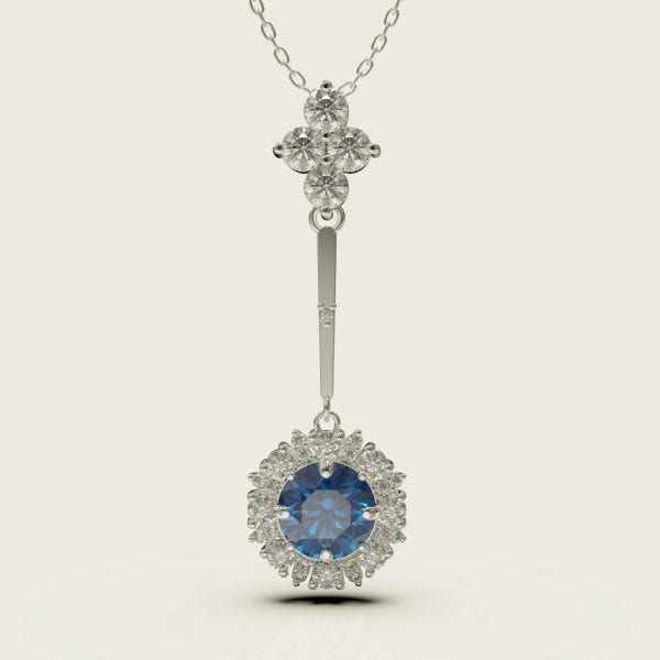 Sterling Silver Hanging Crystal Pendant